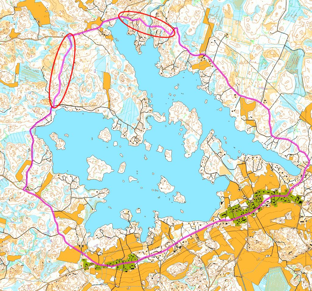 Kartta järvenympärysreitistä